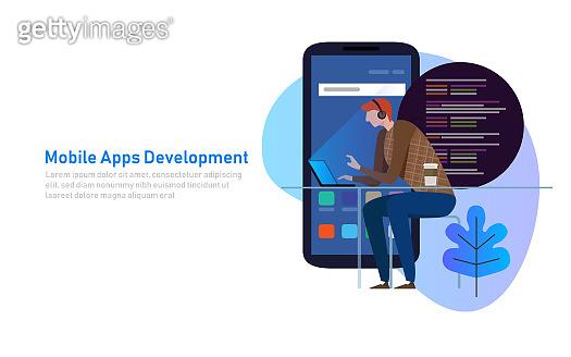 Mobile App Development, Programmer code on laptop. Smart phone application. Vector illustration