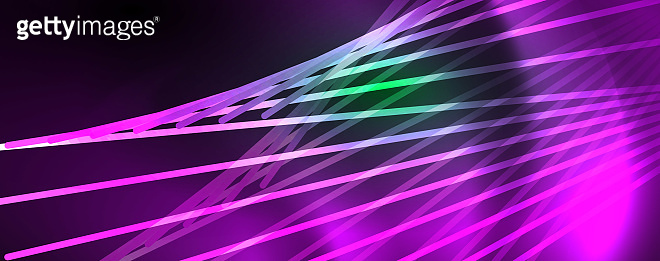 Vector neon light lines concept, abstract background