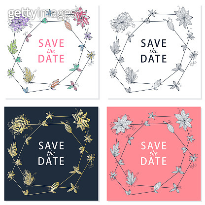 Beautiful hand drawn greeting card with save the date text and doodle flower. Set greeting card. Vintage love collection.