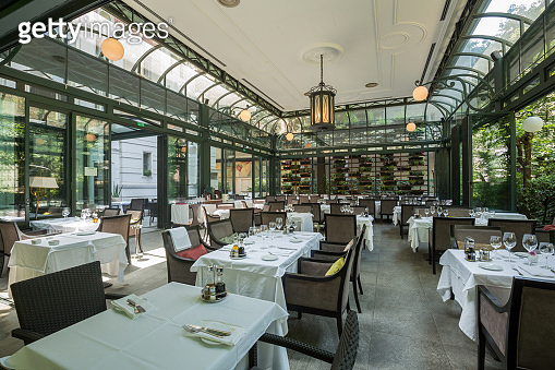 Beautiful restaurant summer terrace interior