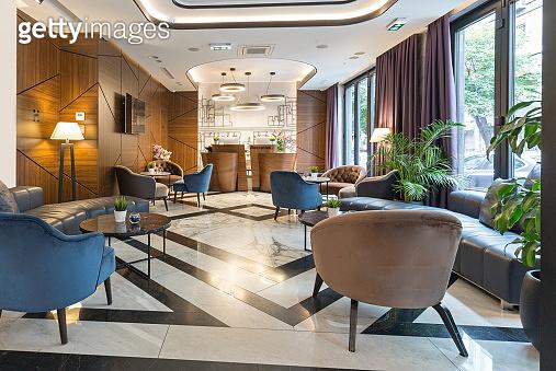 Interior of a modern luxury hotel reception