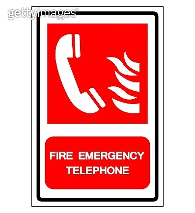 Fire Emergency Telephone Symbol Sign, Vector Illustration, Isolate On White Background Label. EPS10