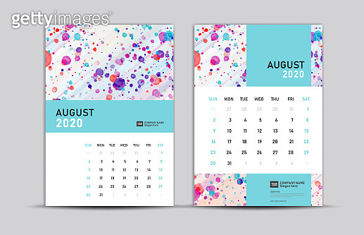 AUGUST 2020 template, Desk calendar 2020, trendy background, vector layout, printing media, advertisement, a5, a4, a3 size, pastel concept