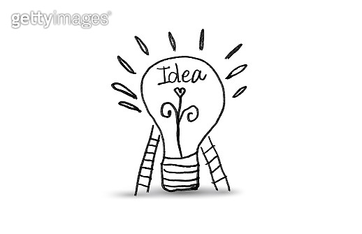 Light bulb icon with staircase vector illustration, black color. Concept or creative thinking, doodle hand drawn sign, cartoon