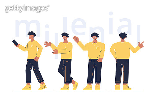 Men characters showing different gesture