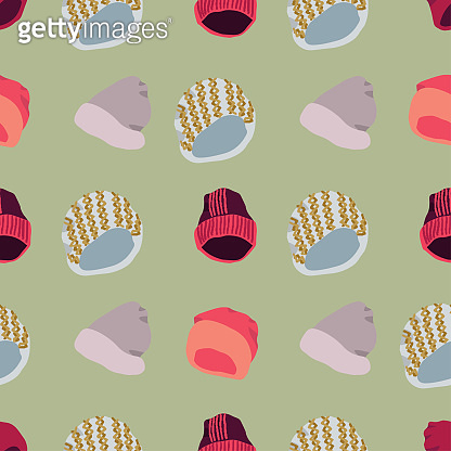 Illustration of knitted beanies seamless pattern on green background