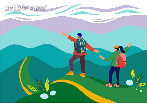 Man with backpack, traveller or explorer standing on top of mountain or cliff. Concept of discovery, exploration, hiking, adventure tourism and travel.