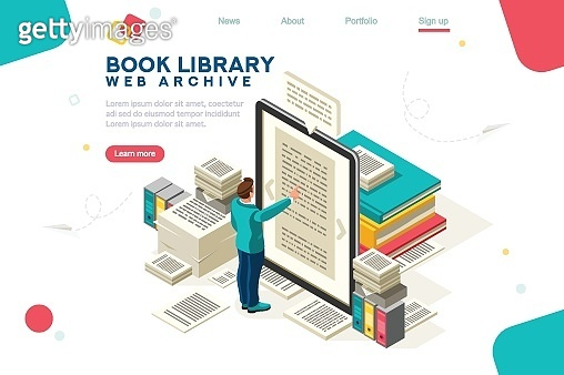 Media Book Library Template Vector