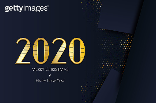 2020 modenr golden card. Greeting Merry Christmas and Happy New Year.