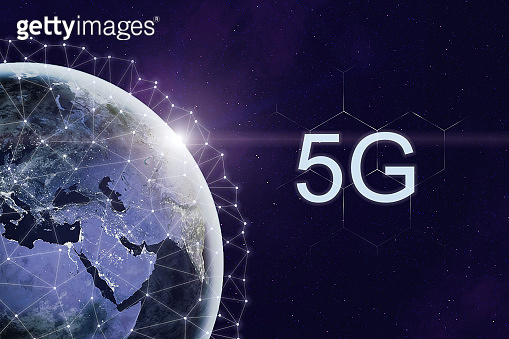 5g internet wireless connection technology. Next generation on global telecommunication concept. Space view on Earth with lights of sun. Details of this image furnished by NASA