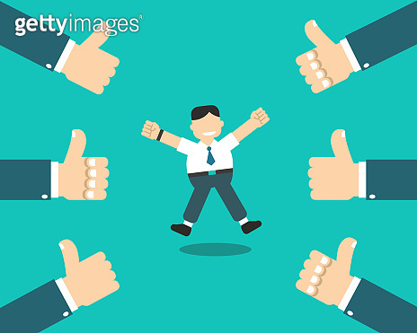 Vector cartoon happy businessman with many thumbs up hands