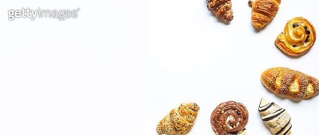 Top view of bread and bakery set on white  color background.Food and healthy concepts i