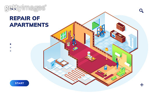 Isometric apartment with repair workers. Room maintenance or home renovation smartphone application or app. Painters and foreman doing wallpapering, repairman mounting window. Smartphone app