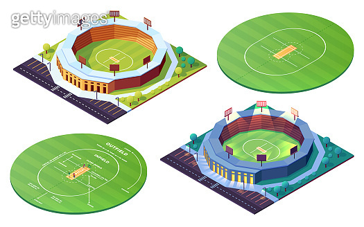 Set of isolated circle cricket pitch or grass field. Day, night stadiums for cricketer sport competition. Ground or green lawn, court for players. Sports event building, arena. Architecture, sportsman