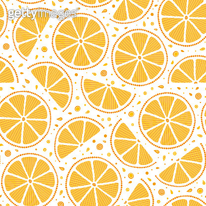 Oranges slices on a white background seamless pattern.