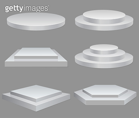 Product presentation podium, white stage, Empty white pedestal, blank template mockup. vector