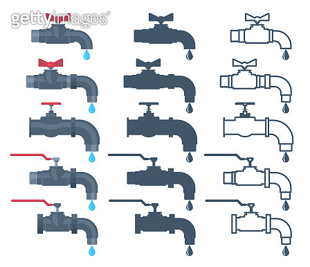 Faucet icon. Water valve silhouette. Tap with water drop sign outline. Vector