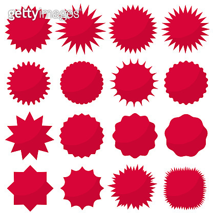 Starburst seals set, Bursting rays clip art. Red sparkles. Sale sticker. Vector