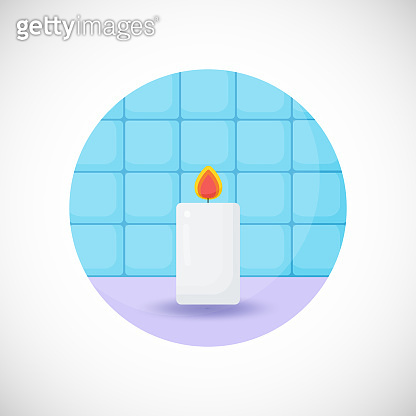 Burning candle vector flat icon