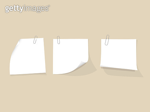 Set of white paper notes with paper clip. Vector illustration