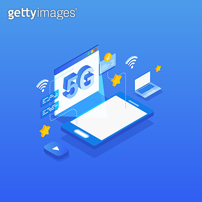 High-speed mobile internet connection concept. Isometric 5G network wireless technology illustration.