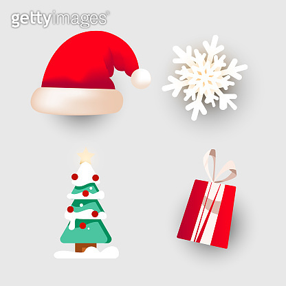 Christmas dabor for decorating banners, postcards, posters or other media elements. Santa hat, snowflake, tree, gift isolated on a white background.