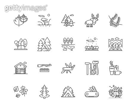 Forest line icons, signs, vector set, outline illustration concept