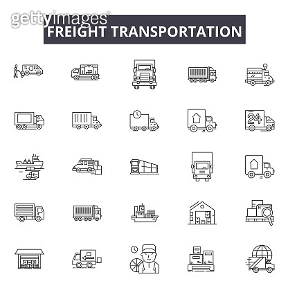 Freight transportation line icons, signs set, vector. Freight transportation outline concept, illustration: transport,transportation,delivery,freight,truck,ship,shipping,train