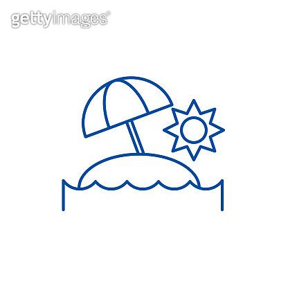 Sunny island line icon concept. Sunny island flat  vector symbol, sign, outline illustration.
