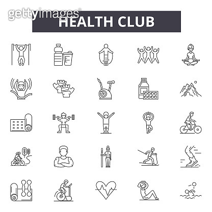 Health club line icons, signs set, vector. Health club outline concept, illustration: health,club,gym,fitness,sport,healthy