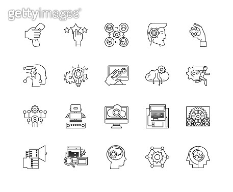 Digital help line icons, signs, vector set, outline illustration concept