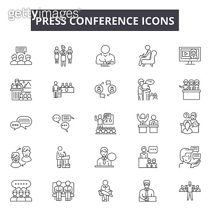 Press conference line icons, signs set, vector. Press conference outline concept, illustration: press,conference,microphone,communication,interview,media,news,speech