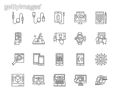 Electrronic computers line icons, signs, vector set, outline illustration concept