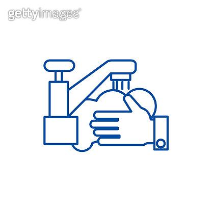 Washing hands,wash crane line icon concept. Washing hands,wash crane flat  vector symbol, sign, outline illustration.