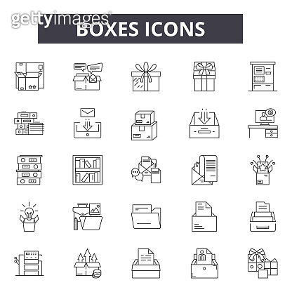 Boxes line icons for web and mobile design. Editable stroke signs. Boxes  outline concept illustrations