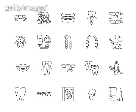Dentistry line icons, signs, vector set, outline illustration concept