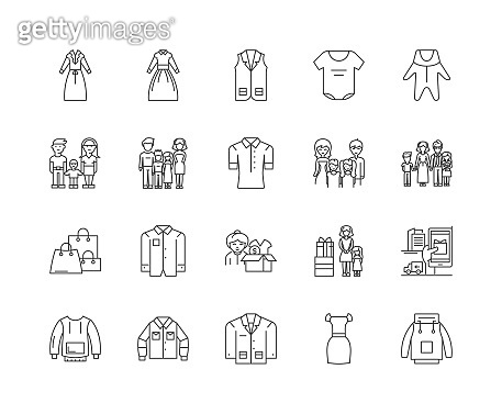 Family clothing stores line icons, signs, vector set, outline illustration concept