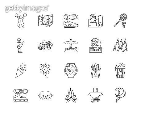 Festival line icons, signs, vector set, outline illustration concept