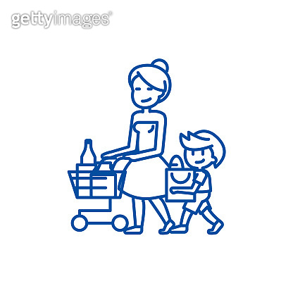 Shopping grocery,mother with son  line icon concept. Shopping grocery,mother with son  flat  vector symbol, sign, outline illustration.
