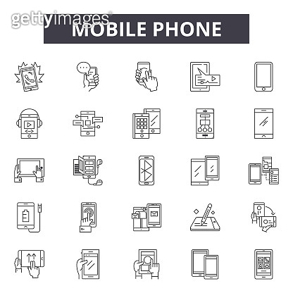 Mobile phone line icons, signs set, vector. Mobile phone outline concept, illustration: phone,mobile,cell,internet,communication,telephone