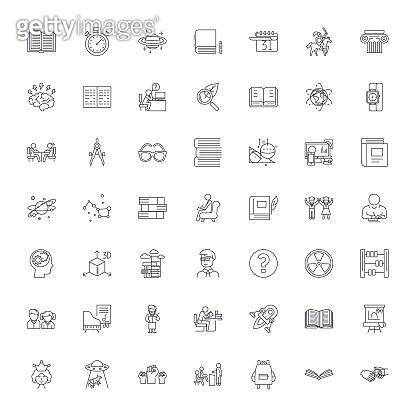Education set linear icons, signs, symbols vector line illustration set
