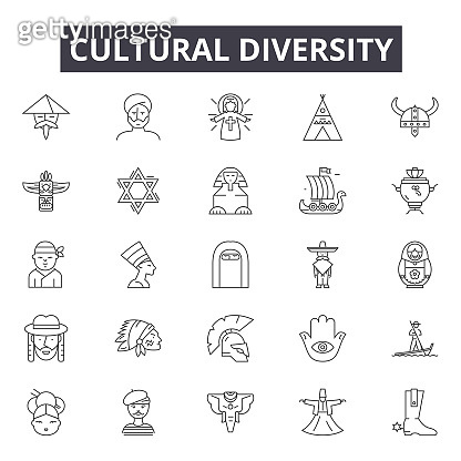 Cultural diversity line icons, signs set, vector. Cultural diversity outline concept, illustration: diversity,culture,group,people,team,community,desocial