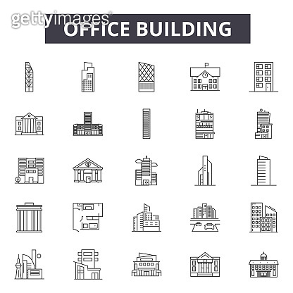 Office building line icons, signs, vector set, linear concept, outline illustration