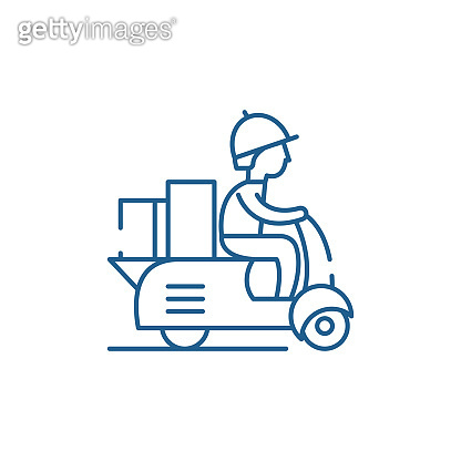 Courier on a motor scooter line icon concept. Courier on a motor scooter flat  vector symbol, sign, outline illustration.