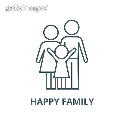 Happy family vector line icon, linear concept, outline sign, symbol