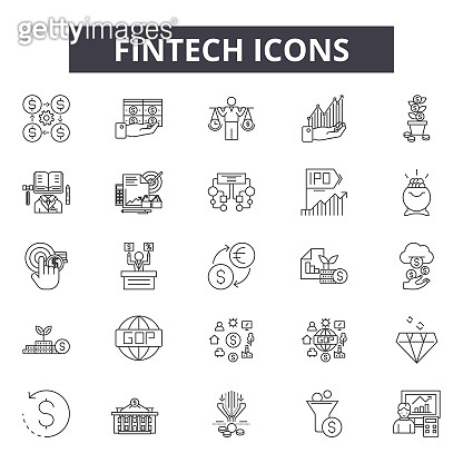 Fintech line icons, signs set, vector. Fintech outline concept, illustration: fintech,finance,business,money,technology,financial,payment,concept,digital