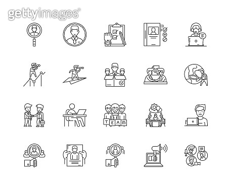 Executive recruiter line icons, signs, vector set, outline illustration concept
