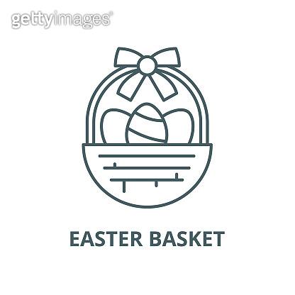 Easter basket vector line icon, linear concept, outline sign, symbol