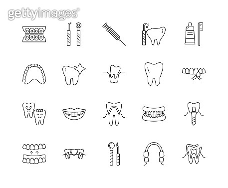 Dental line icons, signs, vector set, outline illustration concept