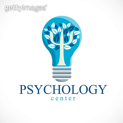 Psychology concept vector icon created with Greek Psi symbol as a tree with leaves inside of idea light bulb, mental health concept, psychoanalysis analysis and psychotherapy therapy.